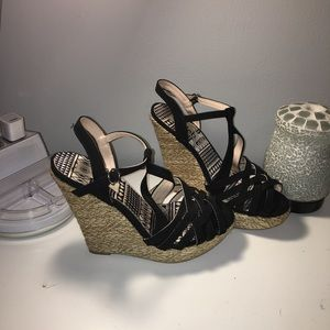 DEB Black Wedge Heels